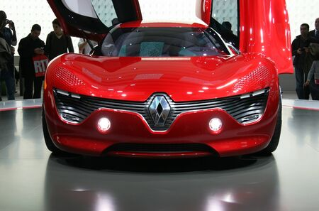 speedster: PARIS - OCTOBER 14: Front view of the Renault DeZir electric speedster at the Paris Motor Show 2010 at Porte de Versailles, on October 14, 2010 in Paris, France Editorial