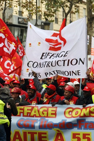 building sector: PARIS - OCTOBER 28: The construction and building sector employees march during the strike against the retirement age reform on October 28, 2010 in Paris, France