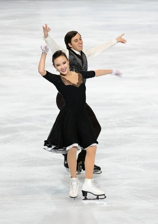 chock: PARIS - NOVEMBER 26: Madison CHOCK and Greg ZUERLEIN of USA perform short dance at the ISU Grand Prix Eric Bompard Trophy on November 26, 2010 at Palais-Omnisports de Bercy, Paris, France.