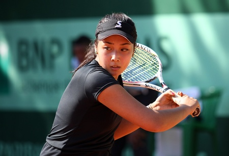 diyas: PARIS - MAY 18: Zarina DIYAS of Kazakhstan plays the 1st round qualification match at French Open, Roland Garros on May 18, 2011 in Paris, France.