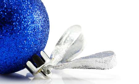 Blue Christmas ball on a white background Фото со стока