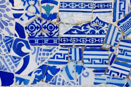 Antonio Gaudi mosaic work at Park Guell  1900-1914 - Barcelona - Spain