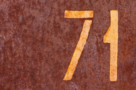 number seventy one on a rusty background Stock Photo - 20922517