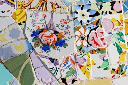 trencadi: Antonio Gaudi mosaic at Park Guell  1900-1914 - Barcelona - Spain   Stock Photo