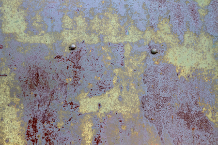 Old grunge vintage background: multicolored rusty metal surface Фото со стока