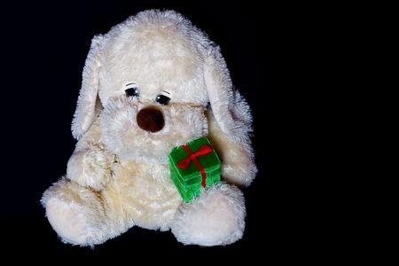 alone in the dark: Sad puppy-toy with green present-box sitting alone in the dark