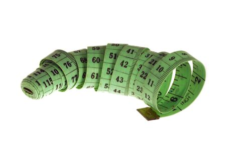 tapeline: Green centimeter and inch tape-line over white background