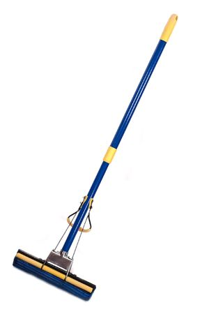 broom handle: Blue-yellow mop with wringer isolated on white
