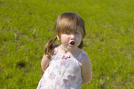 Arguing little girl with ponytails over vivid green grass background Stock Photo - 1497566