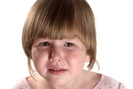 Facial portrait of upset crying Little girl isolated on white Stock Photo