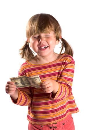 Girl holding hundred dollars as her first salary with closed eyes isolated on white Stock Photo - 1674870