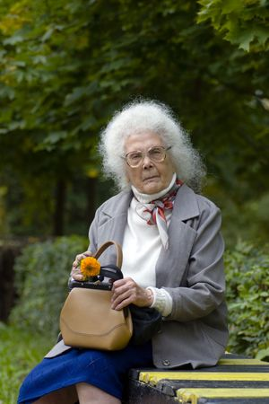 80 year old: Old woman with grey hair and glasses sitting on the bench in the park Stock Photo