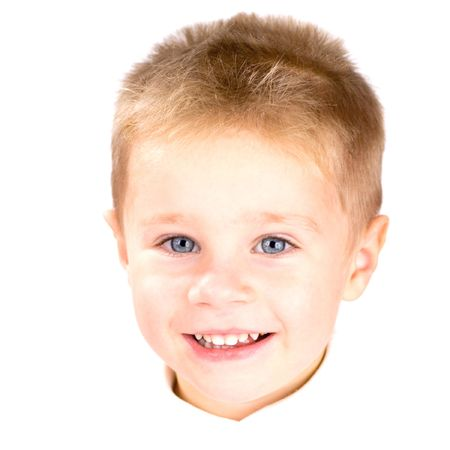 playful behaviour: Portrait of little boy with blue eyes smiling, isolated on white