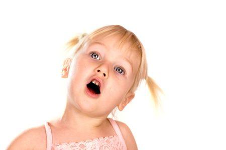 ponytails: Singing blonde babygirl with ponytails looking up isolated on white Stock Photo
