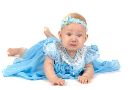 Crying adorable babygirl wearing holyday blue dress isolated on white Stock Photo - 2481461