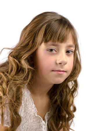 nine years old: Portrait of nine years old girl with curly hair isolated on white