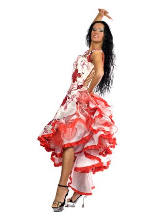 Latina dancer - beautiful woman with long black hair wearing stage vivid dress isolated on white Stock Photo - 2481486