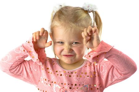 Funny girl with scary face Stock Photo - 2481561