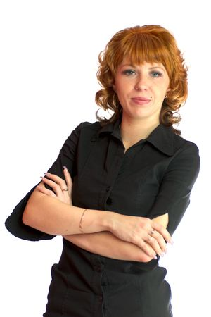 Beautiful redhead woman wearing black blouse and golden jewerly isolated on white photo
