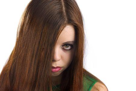 Sexy Look of pretty young woman, half face hidden photo