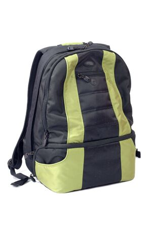 Green-black Backpack isolated on white photo