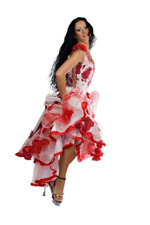 Latina dancer - beautiful woman with long black hair wearing stage vivid dress isolated on white Stock Photo - 2767088
