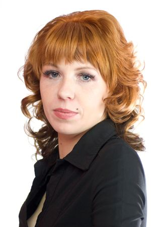 Beautiful redhead woman wearing black blouse isolated on white photo