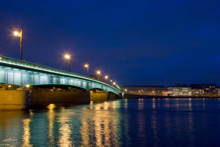 Night Bridge across Neva river in St.Petersburg, Russia Stock Photo - 2767612