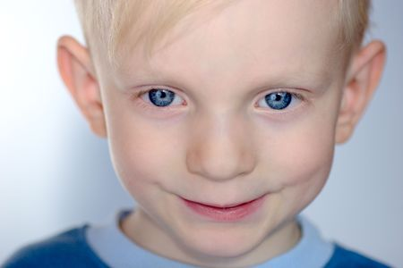 Closeup portrait of Upset child with his eyes almost closed Stock Photo - 2817487