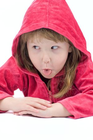 Little girl Making funny face showing tongue isolated on white Stock Photo - 2911372