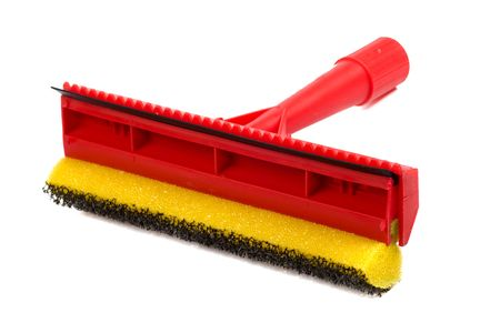 Mop with scraper for cleaning windows isolated on white photo