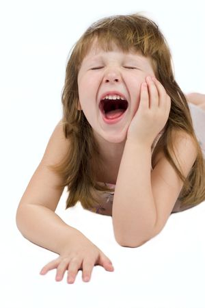 mouth closed: Yawning child with eyes closed isolated on white