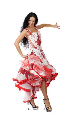Latina dancer - beautiful woman with long black hair wearing stage vivid dress isolated on white photo
