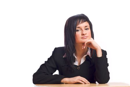 Young business woman sitting at the table looking at you Stock Photo - 3069855