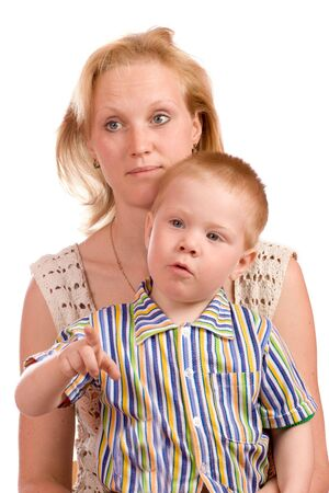 Mother and son looking away at something, child pointing photo