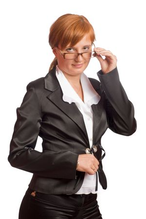 redhead Business woman wearing black suit isolated on white photo