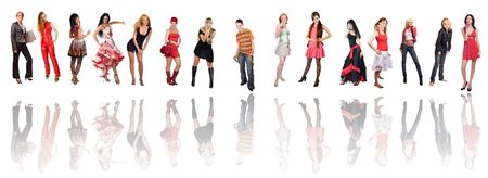 Group of fifteen different dressed women isolated on white photo