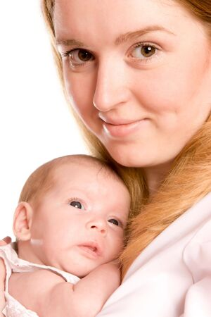 Happy mother holding her baby both smiling Stock Photo - 3594714