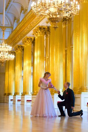 Bride and groom  indoors looking to each other Stock Photo - 4124596