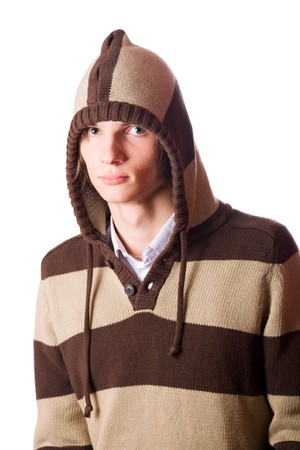 Young man wearing striped sweaterwith hood isolated on white photo