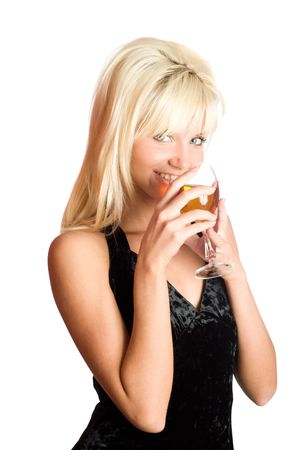 Young woman drinking wine isolated on white photo
