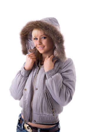 Young woman wearing jacket with hood isolated on white photo