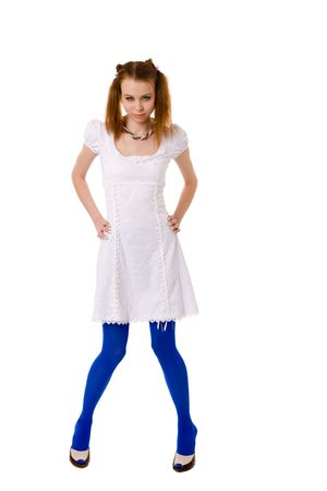 lolita: Funny Lolita wearing blue vivid tights isolated on white