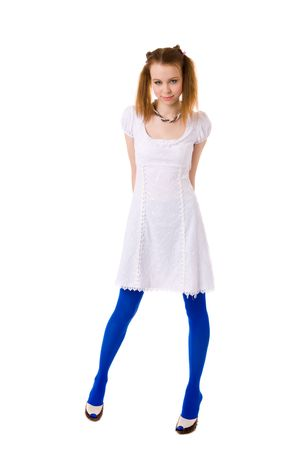 lolita: Funny Young woman wearing blue vivid tights isolated on white