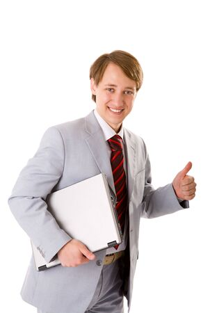 hurrying: Happy Businessman ready to close the deal isolated Stock Photo