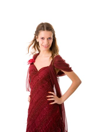 Portrait of Young woman in dress turning isolated Stock Photo - 5101879
