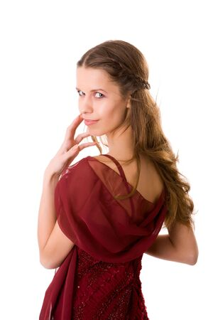 Portrait of Young woman in dress turning isolated Stock Photo - 5102517
