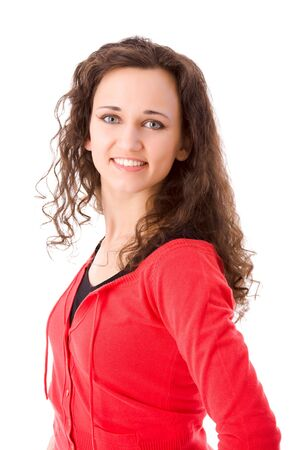 Young cheerful brunette woman portrait isolated on white Stock Photo - 5102855