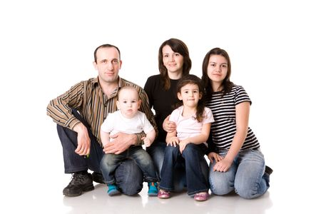 Happy Family with three kids together isolated on white Stock Photo - 5103965