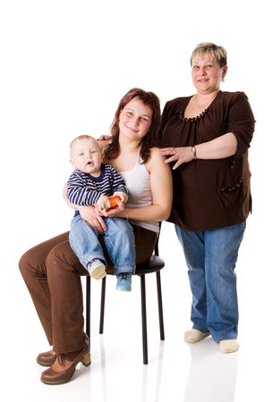 family of Three generations - boy, mother and grandmother isolated on white Stock Photo - 5103880